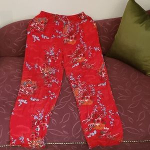 CLIO Red Floral Rayon Pants